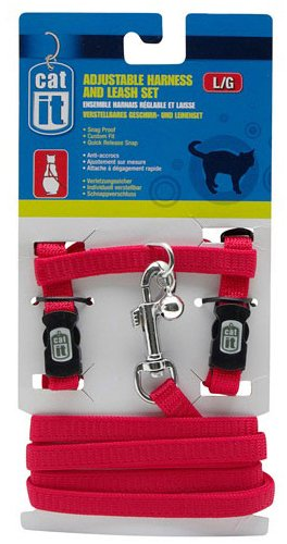 Catit Nylon Adjustable Cat Harness and Leash Set, Large, Red