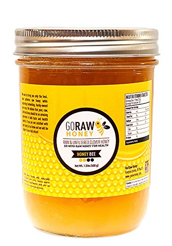 24oz (1.5lbs) Glass Jar Of Pure Raw Clover Honey | ''The Honey Bee'' | Unfiltered, Unpasteurized, No Sugars/Water Added, 100% American Grade A Honey From Family-Owned Farms by Go Raw Honey