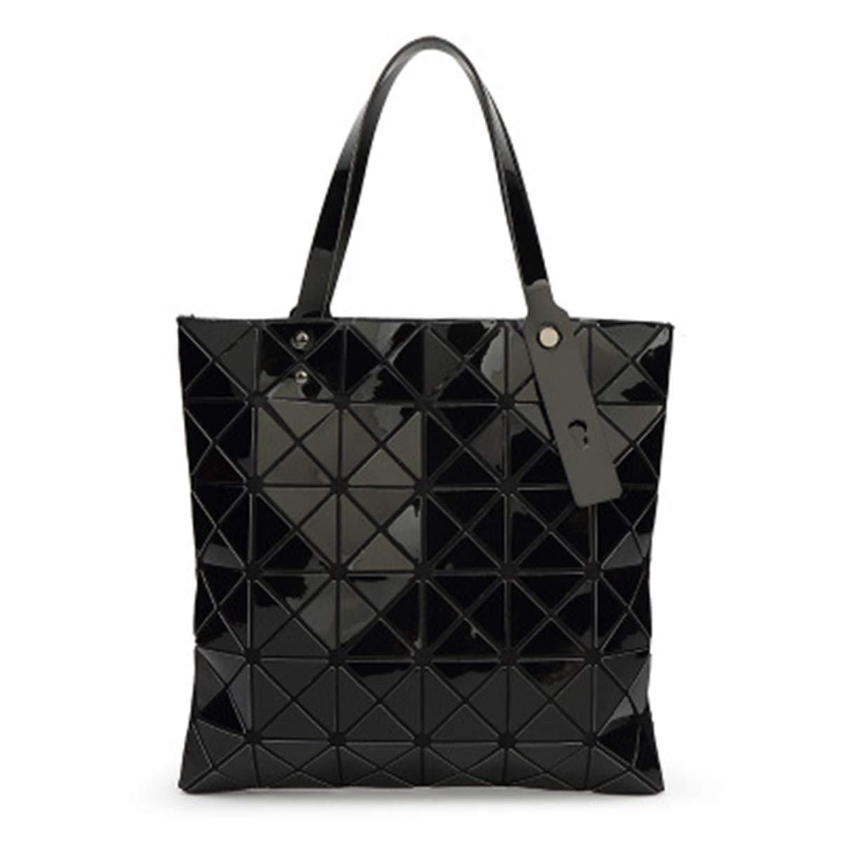 3ebb637603a7 Amazon.com: Women Hologram Tote Purse Geometric Split Joint Plaid Top  Handle Bag PU Leather Handbag Black: Shoes
