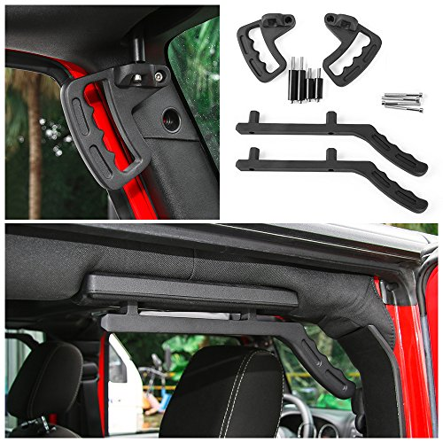 Voodonala Set Front & Rear Roll Bar Grab Handles for 2007-2017 Jeep JK Wrangler & Unlimited (Rear Roll Bar)