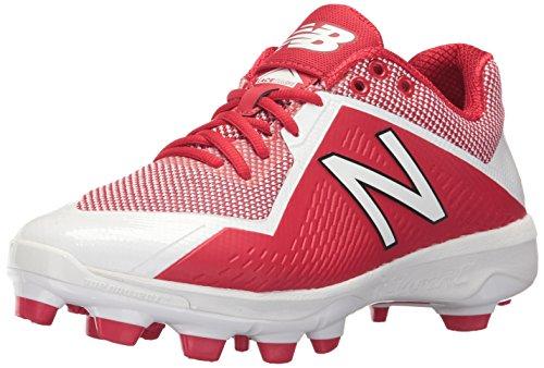 5 Low Metal Baseball Cleat - New Balance Men's PL4040v4 Molded Baseball Shoe, Red/White, 5 D US