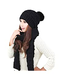 Jelinda Girls Knitted Hat Scarf Warm Autumn Winter Thermal Set (black)