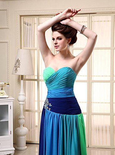 Kleid UK14 Maxikleid Bandage Formale Farbverlauf Abendkleid Brautjungfer Chiffon Damen SD063 Clearbridal aYv6qcw8w