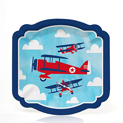 (Taking Flight - Airplane - Vintage Plane Baby Shower or Birthday Party Dessert Plates (16 Count))