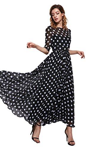 Floryday Women's Chiffon Polka Dot Half Sleeve Maxi Casual dress (L)