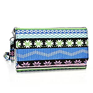 Wristlet phone case with strap- Blue/Pink Winter Wonderland pattern compatible with Lg G3