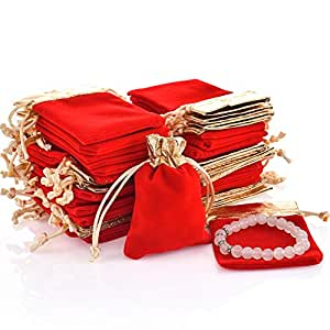 Amazon.com: 50pcs Bolsas bolsa de regalo de joyería cordón ...