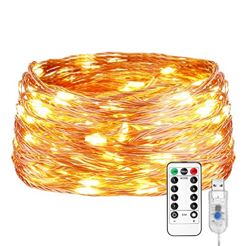 LE Fairy Lights Copper Wire Fairy String Lights, 66ft 200 LED USB Powered Waterproof Firefly Lights with 8 Lighting Modes/Timer, Starry Lights for DIY Home Parties Wedding Christmas Décor, Warm White