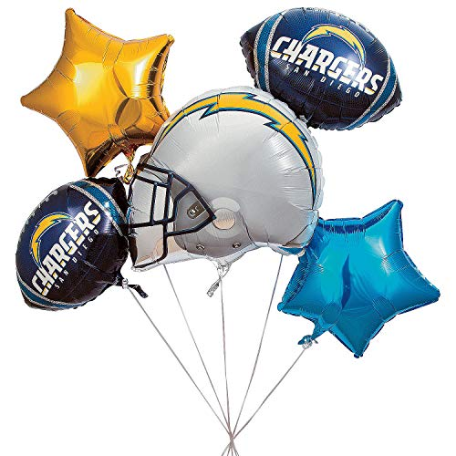 Fun Express - Nfl San Diego Chargers Balloon Set (5pc) for Party - Party Supplies - Licensed Tableware - Misc Licensed Tableware - Party - 5 Pieces