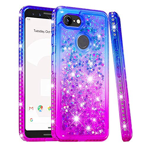 Price comparison product image Pixel 3 Case,  Futanwei [Gradient Colorful+Quicksand+Diamond Bumper] Soft TPU Case for Girls Glitter Crystal Design Sparkle Bling Luxury Full Cover for Google Pixel 3 [NOT fit Pixel 3XL] BluePurple