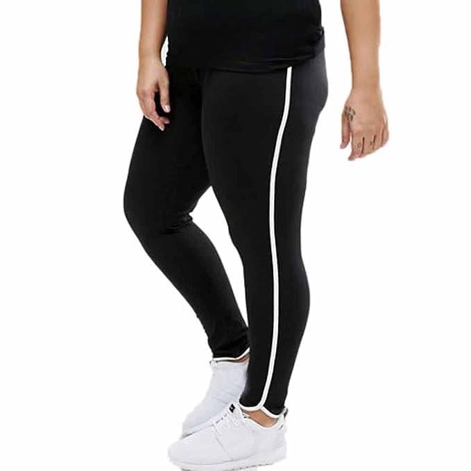 VPASS Mujer Pantalones,Color sólido Patchwork Elásticos Pantalones de Yoga de Talla Grande Mujer Fitness Mallas Gym Slim Fit Pantalones Largos ...
