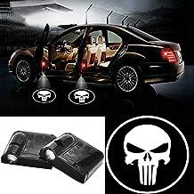 2pcs Universal Wireless Car Projection LED Projector Door Shadow Light Welcome Light Laser Emblem Logo Lamps Kit (Punisher)
