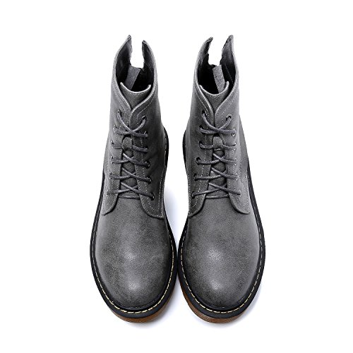 Smilun Girl¡¯s Ankle Combat Boots Zip Lace-Up Mid Heel Smooth Nubuck Leather Derby Classic Boot for Girl Grey US6.5 by Smilun (Image #7)