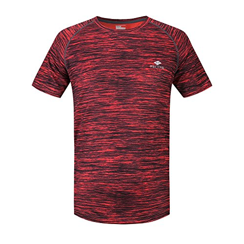 Mens Quick Drying Outdoor Fashion T Shirts 887 Orange Red Large