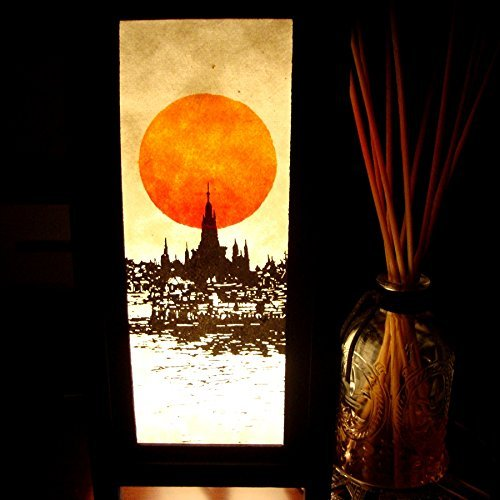 John Deere Adjustable Collar (M$M Shop Buddhist Pagoda Riverside Sunrise Orange Paper Handmade Asian Oriental Wood Light Night Lamp Shade Table Desk Art Gift Home Vintage Bedroom Bedside Garden Living)