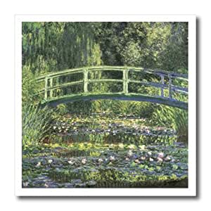 ht_164669_2 PS Vintage - Water Lilies and Japanese Bridge Monet Vintage - Iron on Heat Transfers - 6x6 Iron on Heat Transfer for White Material