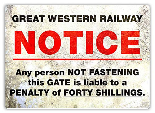 JORDAN ARCHER Notice Great Western Railway Metal Tin Poster Garage Club Bar Wall Art Decoration