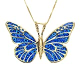Gold Plated Sterling Silver Butterfly Necklace Pendant Blue Polymer Clay Jewelry, 16.5'' Gold Filled Chain