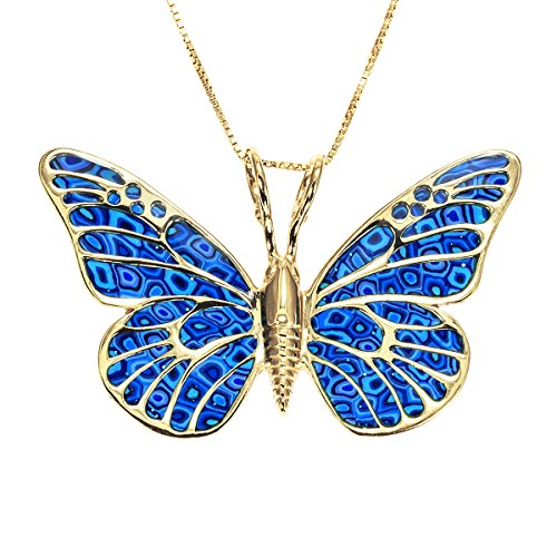 Gold Plated 925 Silver Butterfly Necklace Pendant Handmade Blue Polymer Clay Jewelry, 16.5