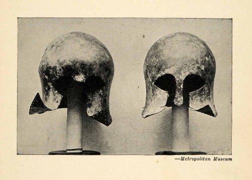 1939 Halftone Print Bronze Corinthian Helmet Late Helladic Period Mycenae Greece - Original Halftone Print - Bronze Corinthian Corinthian Design