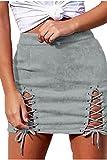 Meyeeka Women Bodycon Faux Suede Stretch Split Mini Skirt Stretchy Pencil Skirts
