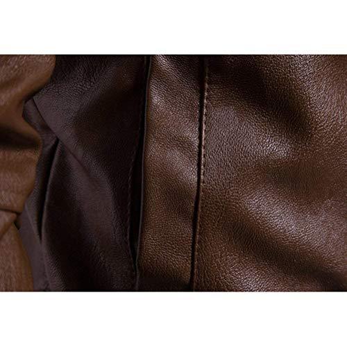 Pelle Pelle Cappotto Stand Lunga Moto Moto Mens in Outwear Motociclista Giacche Unico Solid del Stand Collare Slim Schwarz Casuale Manica Colletto Zip Jacket 66FZ8q