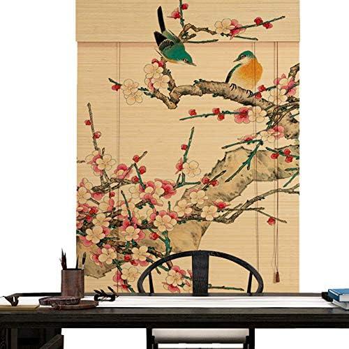印刷された竹のカーテン木製の遮光窓ローラーブラインド、屋内屋外窓ドアロールアップのためのの天然竹カーテン、研究茶室カフェパーティションスクリーンカーテンブラインド