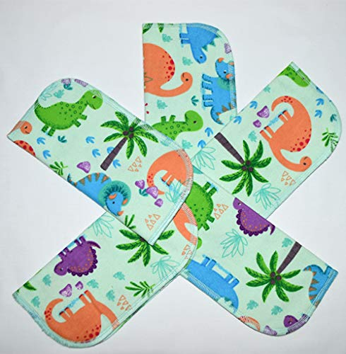1 Ply Printed Flannel Little Wipes 8x8 Inches Dinosaurs