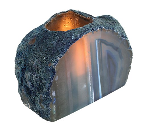 Rock Paradise 1 (ONE) Agate End Candle Holder Exclusive Certificate of Authenticity (Blue)