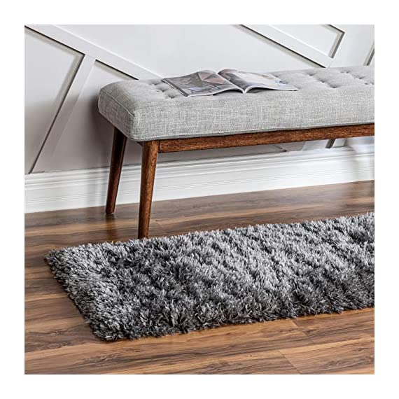 Infinity Collection Solid Shag Runner Rug by Rugs.com – Smoke 2' x 6' High-Pile Plush Shag Rug Perfect for Hallways, Living Rooms, Bedrooms and More - SOFT AND DURABLE CONSTRUCTION - Made with high quality polypropylene that is as durable as it is soft. Our rugs stand up abuse even in high-traffic areas. PERFECTLY SIZED - 5' x 8' Area rugs are the perfect size for Living Rooms, Bedrooms, Dining Rooms , or anywhere you want to bring a little more style into your home EASY TO CLEAN - Our rugs are waterproof, mold and mildew resistant, stain resistant, and shed proof. With regular vacuuming (no beater bar!), your rug will last for years to come. - runner-rugs, entryway-furniture-decor, entryway-laundry-room - 516S6RgsKNL. SS570  -