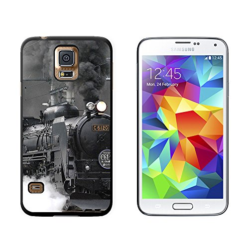 Steam Train Engine Locomotive - Snap On Hard Protective Case for Samsung Galaxy S5 - Black (Telephone Locomotive)