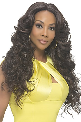 Vivica A Fox Hair Collection Sunflower Natural Baby Swiss Lace Front Wig Invisible New Futura Fiber Lace Part, 1b, 14.3 Ounce