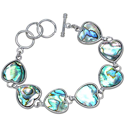 "CZgem Abalone Shell Bracelets for Women, Silver, Inlay Link Love All Around Heart Shape Blue Luster Romance, Adjust 6.5-7.9"", Ideal S1272"