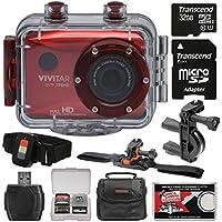 Vivitar DVR786HD 1080p HD Waterproof Action Video Camera Camcorder (Red) with Remote, Vented Helmet & Handlebar Bike Mounts + 32GB Card + Case + Kit