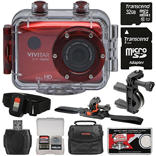 Vivitar DVR786HD 1080p HD Waterproof Action Video Camera Camcorder (Red) with Remote, Vented Helmet & Handlebar Bike Mounts + 32GB Card + Case + Kit