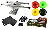 Owlsome 5.25 Polished Aluminum Skateboard Trucks w/52mm Wheels Combo Set (Rasta)
