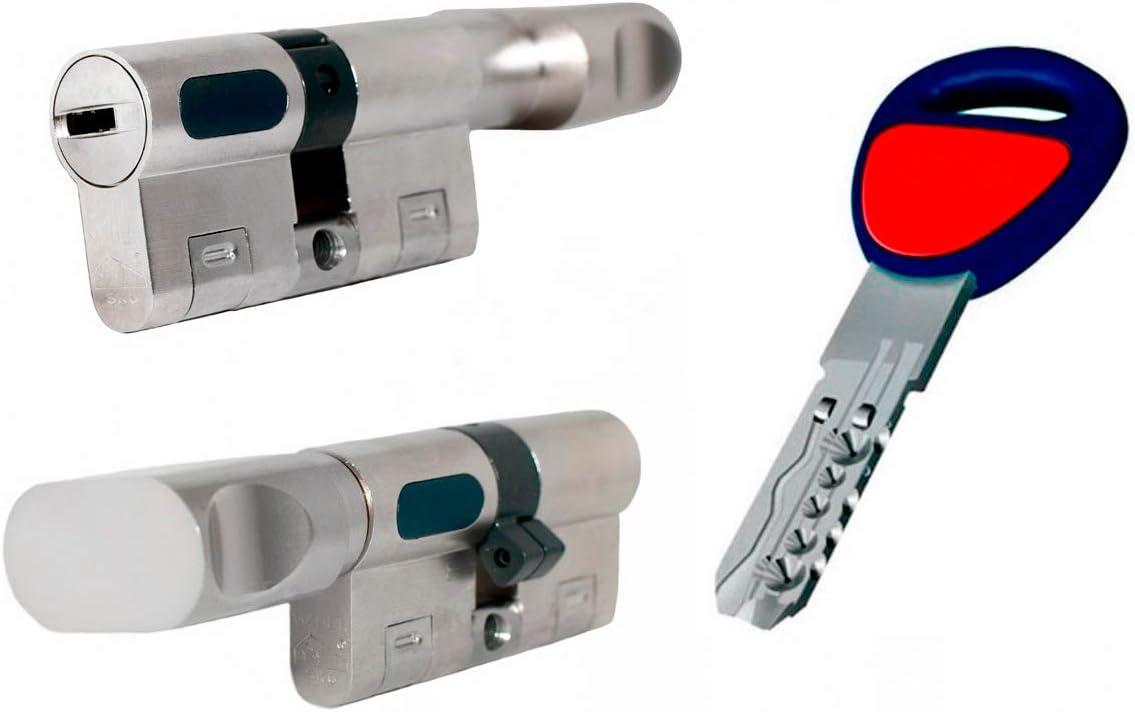 MAUER NW5 Bombin de Seguridad 31x31 Color Niquel con POMO Cilindro Bombillo Reforzado Antirotura Antibumping Antitaladro Leva Antiextracción Cerradura para Puerta 5 LLaves Tarjeta de Seguridad