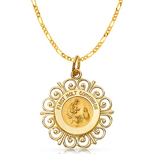 14K Yellow Gold Communion Charm Pendant with 2.3mm Figaro 3+1 Chain Necklace - 16