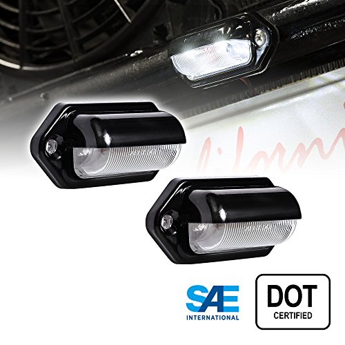 2pc LED License Plate Light [SAE/DOT Certified] [Waterproof] [Heavy Duty] Convenience LED Courtesy Light for Trailers, RV, Trucks & Boats License Tags - Black Housing (Motorcycle License Plate Frame With Led Lights)
