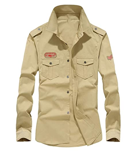 UNINUKOO Unko Mens Casual Long Sleeves Military Style Button Down Shirt Tops