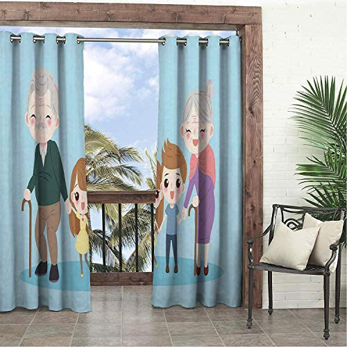Garden Waterproof Curtains Granddaughter Siblings Boy and Girl Grandparents Happy Family Portrait Childhood Days Multicolor pergola Grommets Decor Curtains 120 by 108 - Victorian Hood Wood