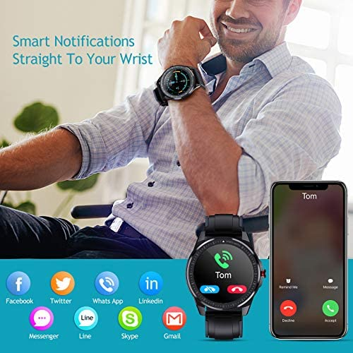 OUTAD Smart Watch for Android/iOS Phones 65 Days Standby 1.3 inch 360 X 360 LED Full Touch Screen 15 Sports Modes IP68 Waterproof Smart Watch Step Calorie Camera Music Control