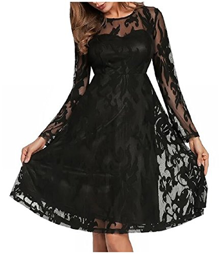 Party Big Long Dress s Hem Lace Women Black Sleeve Solid Coolred Cocktail q48U4