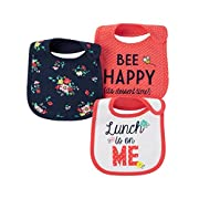 Carter's Just One You Baby Girls' 3 Pack Bib Set (Lunch is on me Pink Multi)