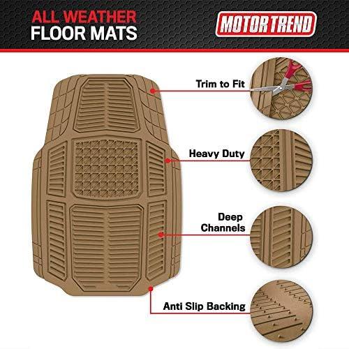 Motor Trend Armor-Tech All Weather Floor Mats, 4 Piece Set – Heavy Duty Rubber Liners for Car, Truck, SUV & Van, MT-824-BG, Beige