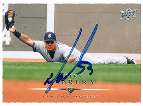 Melky Cabrera autographed baseball card (New York Yankees) 2008 Upper Deck #300 - MLB Autographed Baseball Cards ()