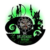 Meet Beauty 2018 Unique Vinyl Record Wall Clock Creative Home Art Decor with Romantic LED Light 7 Colors -Nightmare Before Christmas Jack and Sally Theme
