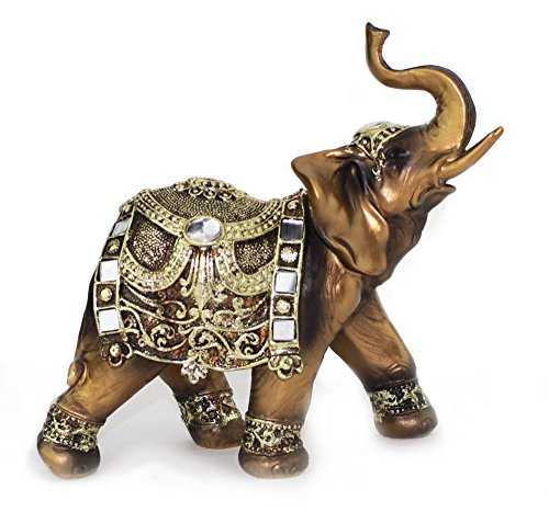 Feng Shui 7 H Brass Color Elegant Elephant Trunk Statue Wealth Lucky Figurine Home Decor Gift G16550 We Pay Your