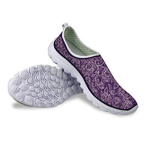 FOR U DESIGNS Vintage Floral Print Womens Casual Mesh Walking Running Shoes Purple ReBHvBhm