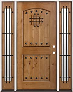 Rustic Knotty Alder Wood Entry Door with Sidelites #20, Left Hand